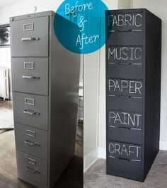 Paint a filing cabinet with chalkboard paint, then you can label what is inside each drawer. Love!