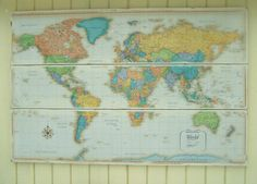 Large World Map- Map Art-World Map Wall Decor- cottage chic map- Nursery decor- Baby Gift- Shabby Chic Distressed Map 48 x 32-