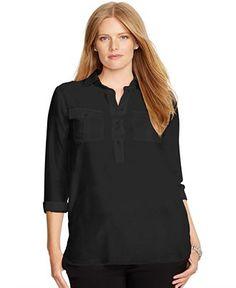 Lauren Ralph Lauren Plus Size Cotton-Silk Utility Tunic - Tops - Plus Sizes - Macy's