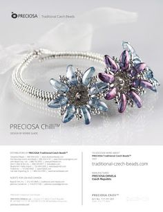 Kerrie Slade: New Year - new website! Chilli Flower bracelet used in the Preciosa Ornela advert in the February 2016 issue of Bead and Button magazine.
