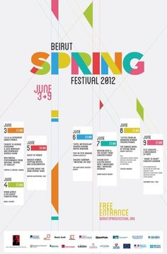 """The """"Beirut Spring Festival"""" is one of the most prominent festivals featuring a variety of shows combining theatrical arts, dance, music. Wonderful fresh colors and simple type. Graphic Design Posters, Graphic Design Typography, Graphic Design Inspiration, Poster Designs, Brochure Design, Flyer Design, Kids Brand, Mise En Page Magazine, Flyer Poster"""