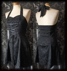 Gothic Black Damask Lace Up INFERNAL CABARET Halter Corset Dress 8 10 Victorian - £36.00