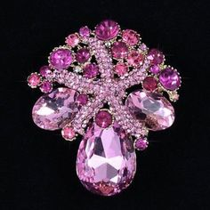 Fancy Cuts Pink Crystal Rhinestone Starfish Brooch (Sparkle-1729-U)