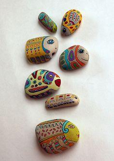 the bugs awaken... handpainted stones. sue thomson
