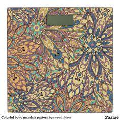 Colorful boho mandala pattern bathroom scale  #Home #decor #Room #Interior #decorating #Idea #Styles #Traditional #Boho #Indian #Vintage #floral #motif