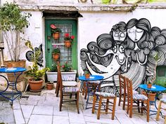 Image result for photos of outdoor cafes in athens