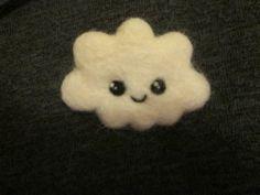 Needle felted handmade kawaii cute happy cloud wool brooch. valentines/mothers