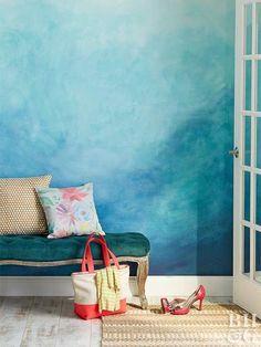15 Best Fabulous Ombre Wall Paint Designs and Ideas Diy Wall Decor, Diy Home Decor, Room Decor, Blue Wall Decor, Watercolor Walls, Watercolor Ideas, Living Room Paint, Living Rooms, Blue Walls