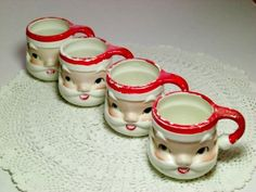 Vintage Santa Claus Mugs 1960s I remember these we had a set and every Christmas we had hot coco