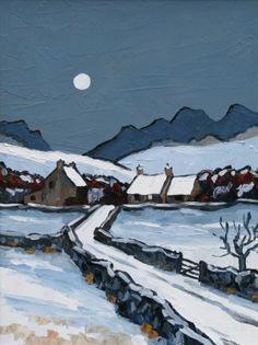 Modern Artist David BARNES-The Denbigh Moors in Winter