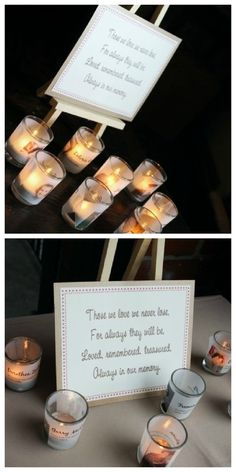 Remembering those who could not be at the wedding. Have a small candle with the name of someone on it who died. I love this.
