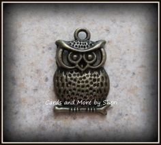 Antique Bronze Owl Charm Pendant 2 by CardsAndMoreBySheri on Etsy, $2.75