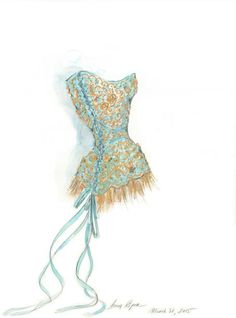 corset named after me, The Angelique couture corset illustrated by Anna Kiper