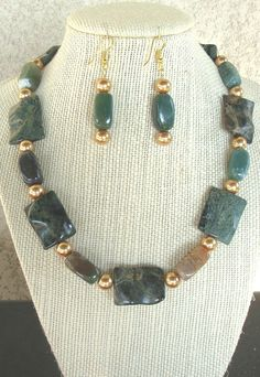 Items similar to Dark Green Jasper Necklace with matching earrings on Etsy