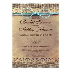 Rustic Country Vintage Bridal Shower Invitations Announcements