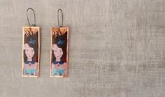 Painting earrings Portrait painting by NataliesWunderland on Etsy