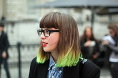 neon green ombre bangs