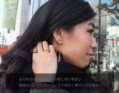 Purple Copper Turquoise ear thread