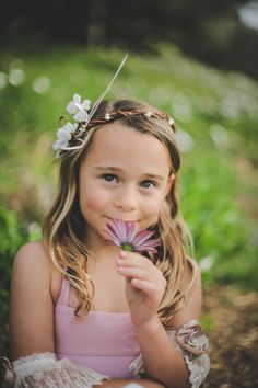 Flower Girl Crown - Girls Floral Head Wreath - Ivory Flowers & Feathers - Fairy Princess Circlet by Sweet Little Sparrow.  Photo by Tara Tomlinson Photography & Styled by Rachel Griffith.