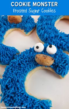 Cookie Monster Sugar Cookies for a Sesame Street Party or a Cookie Monster Birthday Party. So cute and so delicious. For more great Sesame Street Party Ideas follow us at https://www.pinterest.com/2SistersCraft/