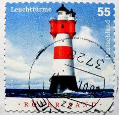 stamp Germany 55c lighthouse Roter Sand Leuchtturm light house Deutschland Briefmarken stamp Germany Allemagne timbre phare francobollo faro selo sellos xìnhàotǎ dēngtǎ 灯塔 маяк 信号塔