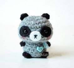 Baby Raccoon Kawaii Mini Amigurumi Plush by twistyfishies, $18.50