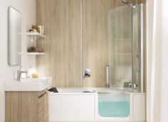 You have never experienced such a comfortable bathtub. Walk In Tub Shower, Bathroom Tub Shower, Tub Shower Combo, Bathtub, Small Bathroom With Bath, Custom Shower Pan, Modern Bathroom Design, Interior Exterior, Interior Design Living Room