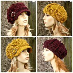 Instant Download Crochet Pattern $5- Hat Crochet Pattern - Crochet Hat Pattern for The Monarch Newsboy or Beret Hat - Womens Hat Fall Fashion