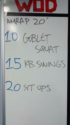 20 min AMRAP goblet squats, KB swings, sit ups