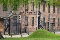 The main gate of the Auschwitz I camp.