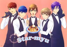 STARMYU (スタミュ)The colorful guys of Starmyu start up a fancy pancake house in this Spoon.2Di vol. 24 (Amazon Japan | eBay) poster, illustrated by character designer Asami Watanabe (渡辺亜彩美).