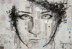 "Saatchi Online Artist: Rebekka Ivácson; Assemblage / Collage, 2012, Mixed Media ""Self portrait with numbers"""