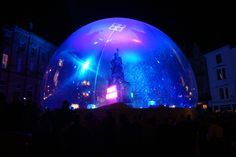 giant snow globe at durham's lumiere show 2011