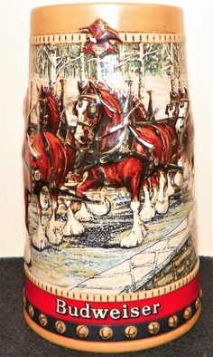Beer Stein - Vintage 1988 - Budweiser World Famous Clydesdales - Christmas 3D