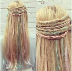 KyriSilk Pastel hair Extensions & multi-braids by Robyn Kyriakou at Lexi K Hair Enhancement.
