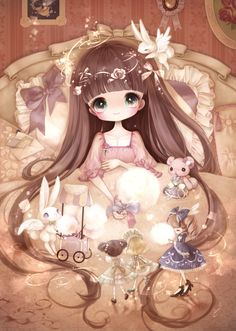 "もみじさわ きな (Kina Momijisawa), ""眠れない日の白昼夢"" (""Sleepless Day Daydream"").  I know it's sickeningly cute . . . but, OH, how sickeningly cute! <3  The fairies and the winged bunnies and the tiny dolls . . . I love it."