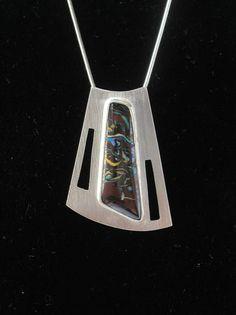 Silver Trapezoid with Yowah Opal (Australian)