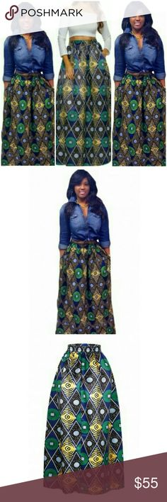 ? [RESTOCKED] African Print Skirt This Ankara African print skirt is chic and can be styled with a lot of different looks. It can also be worn in any season. Maxi skirt cut. Material is 95% poly and 5% spandex. Print is Ankara. Breaux-Mode Skirts Maxi
