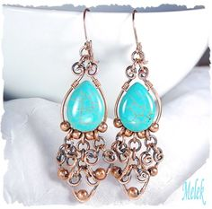 Turquoise Howlite Heart  Charm Copper Earrings by MelekDesigns, $29.00