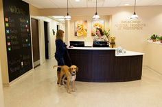 Pretty, uncomplicated lobby. Chalkboard is a neat touch.  Brass is class | Hospital Design