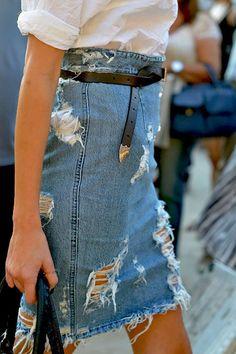 distressed denim skirt - love the skinny black belt detail