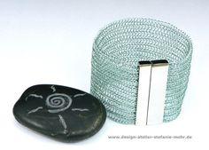 hand made wire crochet CUFF BRACELET smokey grey or ice
