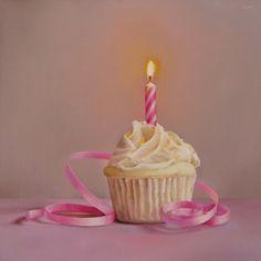 Birthday Cupcake, painting by artist Oriana Kacicek