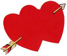 Retro Valentine Image - Double Heart with Arrow - The Graphics Fairy