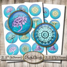 """Sea Animals, Digital Collage Sheet, 2.5"""" , 2.25"""" Circles, Sea Life, Jellyfish Hydra for Toppers, Instant Download, Printable Circles, b4 Collage Sheet, Digital Collage, Under The Sea, Decorative Plates, Unique Jewelry, Handmade Gifts, Etsy, Vintage, Animales"""
