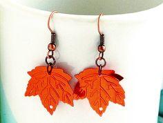 Copper leaf sequin earrings, shiny copper earrings by FfigysDesigns #Handmade #Jewelry #Earrings #TheVerandaTeam