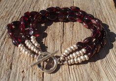Triple garnet & fine silver bracelet by kudzupatch on Etsy, $65.00