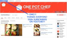 I can't believe it! I just reached HALF A MILLION subscribers on YouTube!!! Thank you all so much for your love and support over the years. I'm just so happy everyone enjoys what I do :) http://www.youtube.com/onepotchefshow
