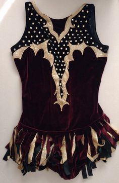 Vintage Velvet Rhinestone Figure Skating Dress Costume Dance Ice Womens Small #Unbranded