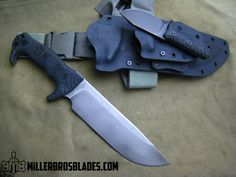 Miller Bros. Blades M-8 Custom with piggy back sheath. These models are available in Z-Wear PM, CPM 3V, CPM S35VN, Z-Tuff PM and 5160 steels Miller Bros. Blades Custom Handmade Knives, Swords & Tomahawks.